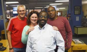 Pictured (from back left): Pretoria News appointments: Production Editor Damian Paterson, Day Editor Tania Stapelberg and News Editor Kennedy Mudzuli with Deputy Editor Jos Charle (front).