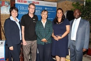 Ninnie Steyn (City of Cape Town Director of Library and Information Services), Janusz Skarzynski (Principal Librarian at Fish Hoek Library), Felicity Purchase (Councillor), Karin Hendricks (False Bay College: Deputy Principal Education and Training) and Mandla Matyumza (Director: The Centre for the Book).
