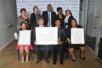 False Bay College Students were acknowledged for their outstanding performances at the Provincial TVET Awards. Back Row: Melanie Vermaak (FBC Academic Head: NC(V) and Nated Programmes), Beverley Shepherd (FBC Fish Hoek Campus Head), Malcolm Meyer (FBC Programme Head), Susan Mhakure (FBC Programme Head), Souchan Jackson (FBC Mitchell's Plain Campus Head); Front Row: Ashley Fredericks (FBC Student), Cassie Kruger (FBC Principal and CEO), Alcino Van Rooyen (FBC Student), Debra Dudley (FBC Student)