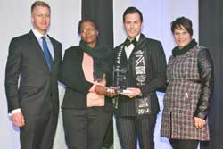 CliffCentral's Gareth Cliff, Zimasa Velaphi (marketing manager Collect a can) – winner of Environment Award, Mr South Africa 2014, Armand du Plessis and Louise van Loggerenberg, director of Ambittech, gold sponsor at African EduWeek