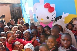 Hello Kitty spreading kindness to the Thembelenkosini kids