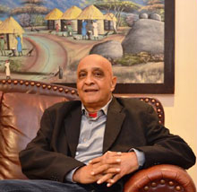 Professor Anis Karodia is all smiles as he learns about the prestigious Alumni Award to be conferred on him at a gala event in Sandton, Johannesburg, on the 9th October 2015