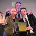 Last year's Gloo prize winner with Alastair Tempest from DMASA and Ben Evans of Ogilvy. Photographer: Wayne Hanscombe