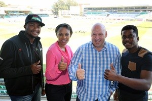 Andile Phehlukwayo (Sunfoil Dolphns player), Boni Mchunu (ECR's General Manager), Pete De Wet (Sunfoil Dolphins CEO) and Msizi James (ECR presenter) at the media launch of the renewed partnership between Sunfoil Dolphins and East Coast Radio.