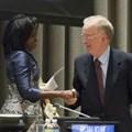 The two laureates, Helena Ndume of Namibia and Jorge Fernando Branco Sampaio of Portugal. Photo: UN/Rick Bajornas