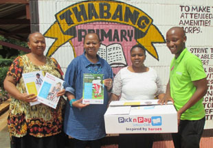 Pick n Pay School Club SLO Lulama Qwenga delivers content to Soweto's Thabang Primary School