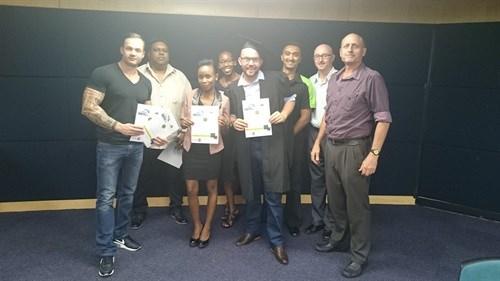 KAMP graduates Johannesburg, from right: Johan Sadie (Manager), David Lazarus, Ashraf Hoosen, Travis Moore, Hazel Moyo, Busiswe Chauke, Deven Pillay, Rudi Pretorius
