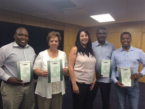 TLDP graduates Johannesburg, from Left: Sibussiso Ndlovu, Charmain Delport, Rika Swart (General Manager & guest speaker), Jerry Reddy, and Brian Masopa