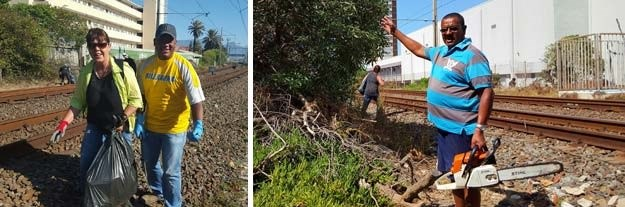 Community volunteers cleaning up the railway reserve. Left: Lesley Schroeder and Aloy Gowne. Right: Desmond Petersen got stuck into the overhanging bush with his chainsaw. Photographs supplied by the MID.