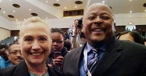 Nkosi with Hillary Clinton
