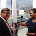 South32 community development manager for Africa region; Nomfundo Mqadi cuts the ribbon with George Mazarakis from Carte Blanche's Making a Difference Trust to officially open the paediatric high care/ ICU ward at Sebokeng Hospital.