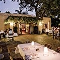 Evening shot of Terroir's outdoor eating area.