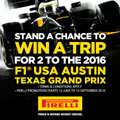 Win a trip with Tiger Wheel & Tyre and Pirelli to the USA Grand Prix 2016