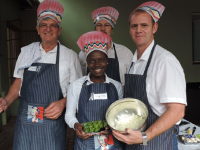 In the Sappi Lowveld region, local Sappi managers and their support teams took part in a 'Master Chef' competition in aid of Mandela Day. The teams cooked 130 meals, which were donated to the Nelspruit Community Forum (NCF) feeding scheme. The food was distributed to people in need.