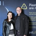 Cheri Scholtz, PETCO CEO, and Casper Durandt, Technical Manager of Coca-Cola South Africa, at the PETCO awards ceremony. Coca-Cola South Africa received the 'Designed for Recycling' award for their extensive range of bottles that have been designed with recycling in mind. [Photo Credit: Dominic Barnardt]
