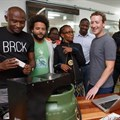 Pictured from left: Eric Thimba and Porgie Gachui, co-founders of Mookh; Wandia Gichuru, CEO, and Makena Mutwiri, head of Marketing of Vivo Active Wear; Mark Zuckerberg, Ime Archibong, Emeka Afigbo of Facebook; Edna Kwinga, HR officer, and Marie Amuti, UX designer of Twiga Foods.