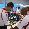 Simulation facilitators (left to right) Ebrahim Bayat, Thamsanqa Khanyile, Musa Ngubane and Vika Njoko demonstrate the equipment's features at the Transnet Maritime School of Excellence in Durban. - Stephen Railton