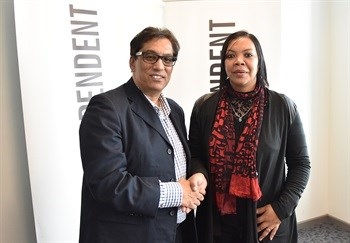 Executive Chairman of Independent Media, Dr Iqbal Survé congratulates Kashiefa Ajam