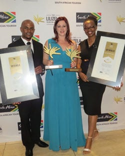 Displaying the City Lodge Hotel Groups category-winning Lilizela Tourism Awards are (left to right) Brandon Adams, Mandy Gunpath and Andile Ncube.