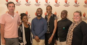 L-R: Awardees Tim Conibear and Lusanda Gwayi, guest speaker Sangu Delle, Inyathelo acting executive director Nomfundo Walaza, and awardees Neftaly Malatjie and Katherine Brink. (Absent: awardee Dianna Yach, on behalf of the Yach family.) Pic credit: Andrew Brown.