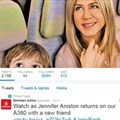 Emirates Twitter Page Leveraging off Jennifer Aniston brand association