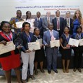 UNESCO-MARS 2016 Award winners: (L-R) front row- 'Best African Woman Researchers Award' 4th place winner Maria Nabaggala, from Infectious Diseases Institute, Uganda; 5th place winner, Martha Zewdie, from Armauer Hansen Research Institute, Ethiopia; 2nd place Best Young African Researchers winner, Constantine Asahngwa, Cameroon Centre for Evidence Based Health Care; Best Young African Researchers 1st place winner Patricia Rantshabeng from University of Botswana; Best African Women Researchers 2nd place winner, Rogomenoma Ouedraogo, Laboratory of Biology and Molecular Genetics University, Burkina Faso; 'Best Young Researcher Award' 3rd place winner, Lamin Cham from National Aids Control Program, Gambia; 2nd row: 2nd place Best Young Researchers Award winner, Tinashe Nyazika, University of Zimbabwe; Best African Woman Researchers Award' 1st place winner, Beatrice Nyagol from Kenya Medical Research Institute, together with Prof. Yifru Berhane, Minister of Health, Ethiopia; Prof. Dr Frank Stangenberg-Haverkamp, Chairman, Executive Board and Family Board of E.Merck KG; Prof. Afework Kassu Gizaw, Minister of Science and Technology, Ethiopia; Ahmed Fahmi, Program Director, UNESCO and Rasha Kelej, Chief Social Officer, Merck Healthcare.