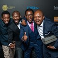 Client Joel Churcher, vice president and GM of BBC Worldwide Africa; with The Odd Number's art director Zamani Xolo; senior copywriter Bonginkosi Luvuno; managing director Xola Nouse; and creative director Sibusiso Sitole on the Loeries 2016 red carpet.