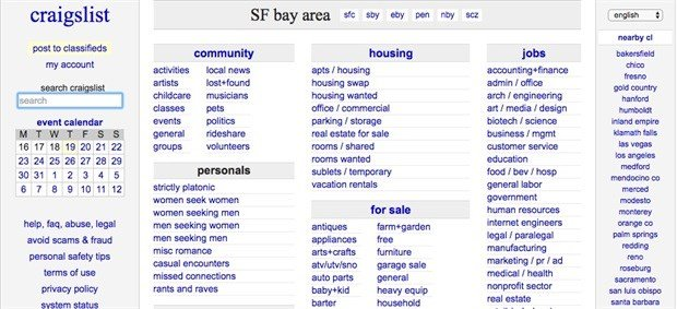 craigslist.com – an example of a Brutalist website