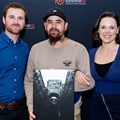 Sunshine co's digital sales manager, Willem Foster, Zeno Petersen (winner) and Karlien Murray from AtPhoto