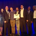 (left to right) Deputy Ambassador, Ayellet Black; Ambassador of Israel to South Africa, Arthur Lenk; co-founders of Multifractal Semiconductors, Nishant Singh, Piotr Osuch, and Ketan Bhana; CEO of the Innovation Hub, McClean Sibanda; and Ogone Ntwae, senior manager special projects at the Innovation Hub.