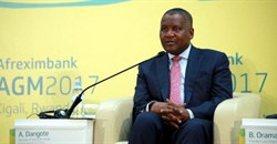 Aliko Dangote speaking during the Afreximbank annual general meeting in Kigali, Rwanda.