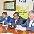 Pictured from left to right: Simon Mwangi, CEO/Founder The Bridge Africa Group Ltd, Kenya; AGCO's Nuradin Osman; Dr George Njenga, Dean, Strathmore Business School and Dr Andy Wilcox, Head of Crop and Environment Science, Harper Adams University, UK. (Image Source: AGCO Corporation)