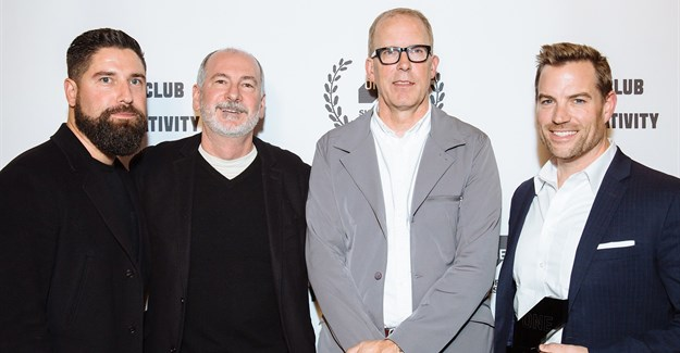 Pictured from left to right: Adam Davis, Brian DiLorenzo and Bruce Bildsten, all Geisel Productions, and Michael Jobst, BMW of NA. Photo credit: Margarita Corporan/Margarita Corporan Photography, courtesy of The One Club for Creativity.