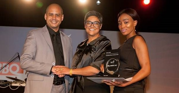 Fatima Vawda, founder of 27four Investment Managers, receiving the Comair Outstanding Woman in Business Award. Image by Julian Cole.