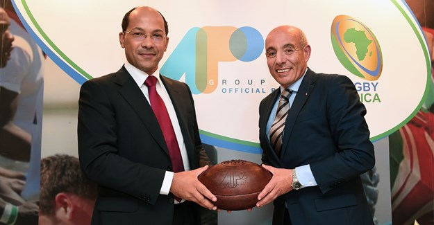 (From Left to Right) - Nicolas Pompigne-Mognard, Founder and CEO of APO Group and Abdelaziz Bougja, Chairman of World Rugby's African association, Rugby Africa during the signing ceremony of the agreement under which APO Group becomes the main Official Sponsor of Rugby Africa, at Royal Garden Hotel on November 12, 2017 in London, England. (Photo by Eamonn M. McCormack/Getty Images for APO Group).