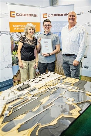 Matthew Morris is pictured with Adri Oliphant (left) and Mike Willard (right) of Corobrik. Morris will represent Nelson Mandela University at the 31st Corobrik Architectural Student of the Year Award finals to be held in May 2018.