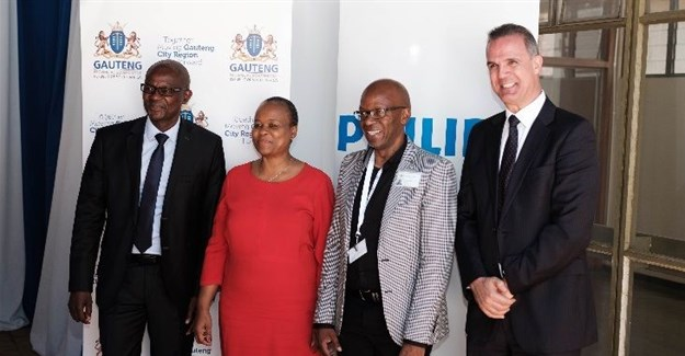 Ntutule Tshenye, GM - Philips South Africa; Gauteng MEC for Health, Dr Gwen Ramokgopa; Dr Freddy Kgongwana, CEO of Dr George Mukhari Academic Hospital (DGMAH); and Jose Fernandes, Head Philips Healthcare, South Africa