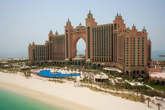 Atlantis, The Palm Hotel in Dubai, United Arab Emirates is built on an entirely artificial island