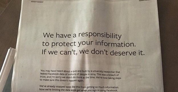 Facebook runs UK, US newspaper ads apologising for data scandal