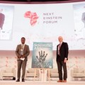 (L to R): Thierry Zomahoun, president and CEO of AIMS, and founder and chair of NEF, Elsevier CEO, Ron Mobed.