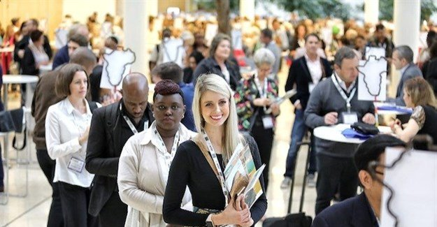 Exhibitors lines up to meet with Buyers from all over the world for a Speed Networking session today. (Image Supplied)