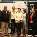 Tim Harris, CEO of Wesgro; Rudi Visser, head of innovation acceleration for RCS; Victoria Jackson of Mest; Kerry Petrie of Silicon Cape; Xabiso Lombo, founder of Guardian Gabriel; Alexander Fraser of VC4A; and Christophe Viarnaud, founder of AfricArena.