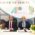 (L-R)- Nicolas Pompigne-Mognard, founder and CEO of APO Group and Abdelaziz Bougja, chairman of World Rugby's African association.