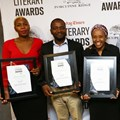 Shortlisted authors for the 2018 Allan Paton Award: Sisonke Msimang (Always Another Country- A Memoir of Exile and Home); Dr Bongani Ngqulunga (The Man Who Founded the ANC: A Biography of Pixley Ka Isaka Seme); Thuli Nhlapo ( Colour Me Yellow- Searching For My Family's Truth); Bongani Siqoko, editor of the Sunday Times; Thandeka Gquleka (No Longer Whispering to Power- The Story of Thuli Madonsela); and Russel Clarke from Bookstorm representing Stuart Doran (Kingdom, Power, Glory- Mugabe, Zanu and the Quest for Supremacy, 1960-187). © Masi Losi.