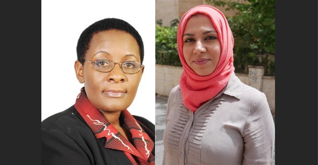 Barbara Kaija, group editor-in-chief of New Vision Press and Publishing Company and Noura al Hourani, lead Arabic editor at Syria Direct.