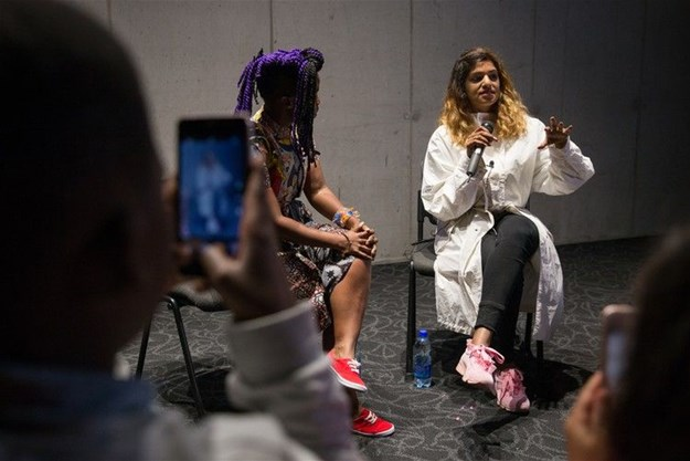 M.I.A. did a Q&A with Zolani Mahola, the lead singer of Freshlyground at the Bertha Movie House in Khayelitsha. The Q&A was held after a screening of M.I.A's biopic MATANGI/MAYA/M.I.A, which was shown as part of the Encounters South African International Documentary Festival.
