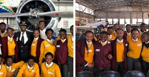 Excited learners attending South African Airway's Youth Careers Summit at Airways Park.