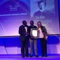 Left image: Alan Paton Award for non-fiction: Bongani Siqoko, Bongani Ngqulunga and Olivia-Jay Pretorius. Right image: Barry Ronge Fiction Prize L-R Bongani Siqoko, Harry Kalmer and Olivia-Jay Pretorius.