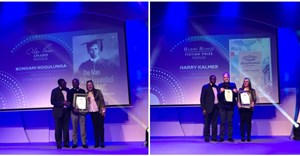 Left image: Alan Paton Award for non-fiction: Bongani Siqoko, Bongani Ngqulunga and Olivia-Jay Pretorius. Right image: Barry Ronge Fiction Prize L-R Bongani Siqoko, Harry Kalmer and Olivia-Jay Pretorius.