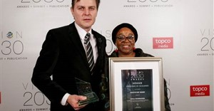Herman Grobler and Sha'p Left nurse, Maureen Dayasi, accepting the certificate of excellence award in the healthcare category at the annual 2018 Vision 2030 awards ceremony.